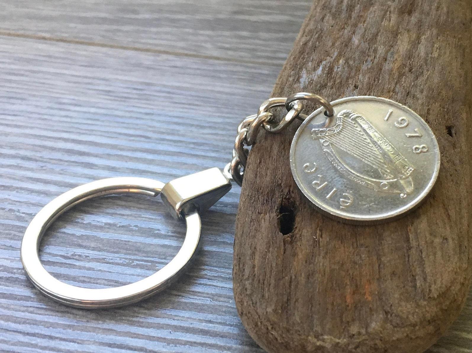 41st Birthday Gift 1978 Irish Coin Keyring St Patricks Key Chain Taurus Bull Anniversary Present For Him Man Uncle Brother Son