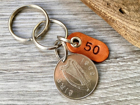 50th birthday gift, 1969 Irish coin keychain, keyring or clip, 50 years bag charm, anniversary present for a man or woman