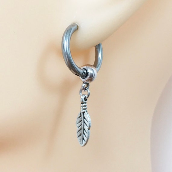 Feather thick hoop earring, choose between a single earring or a pair of earrings, feather jewellery for men or women