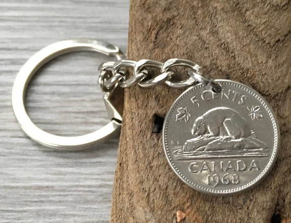 Canadian coin keychain, 1968 or 1969 canada 5c keyring, beaver coin, 50th birthday, anniversary gift for a man, dad, uncle