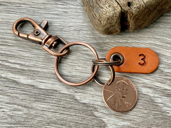 3rd anniversary gift, 2017 USA coin keyring, United States one cent keychain or clip, Leather wedding Anniversary three years