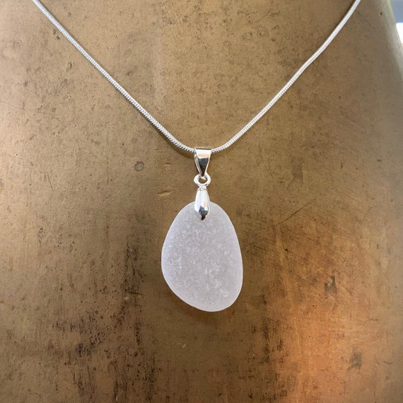 Natural sea glass pendant, Cornwall beach glass necklace, mermaids tears, sea glass jewellery, birthday gift for her, wife, girlfriend