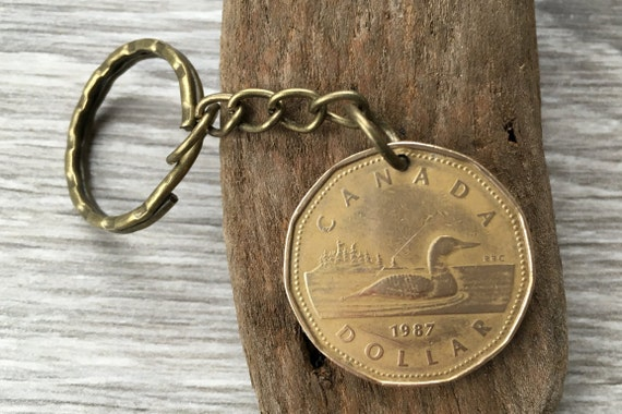 Canadian coin keychain, 1987, 1988, 1989, 1990 canada looney keyring choose coin year for a 30th birthday or anniversary