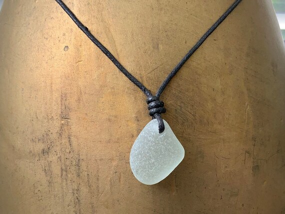 Simple sea glass necklace, adjustable waxed cotton cord, genuine beach glass pendant, boho no metal jewellery, men women, hippie man