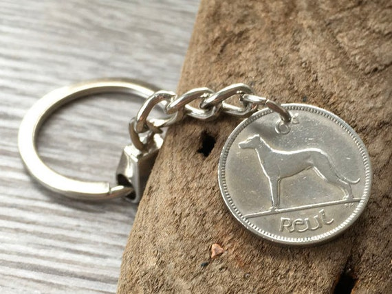 1942 Lucky Irish keychain, keyring, dog wolfhound, 77th birthday gift, Ireland lucky handbag purse charm, retirement present for him or her