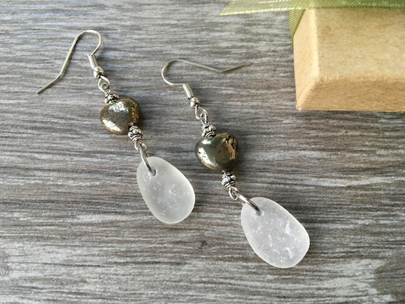 sea glass earrings, iron pyrite jewelry, beach glass, natural jewelry, gemstone heart, unusual gift, cornwall  sea glass, recycled glass,
