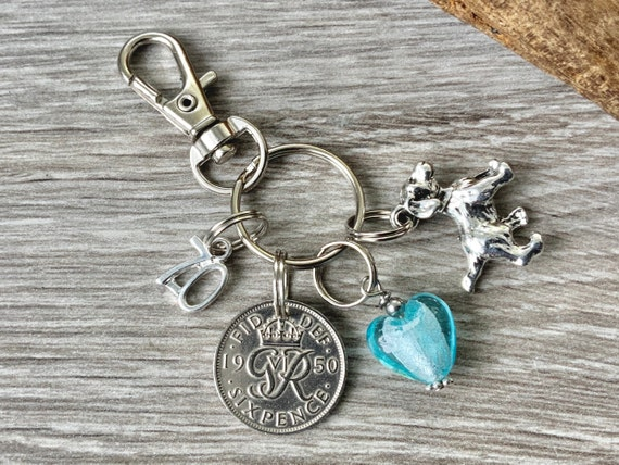 1950 Lucky sixpence charm, keychain, keyring or bag clip, 70th birthday gift woman