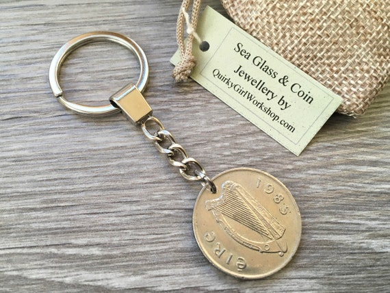 1985 Irish coin keyring, keychain, 35th birthday gift, good luck fishing charm, salmon, ireland harp, present for him, man, husband, dad