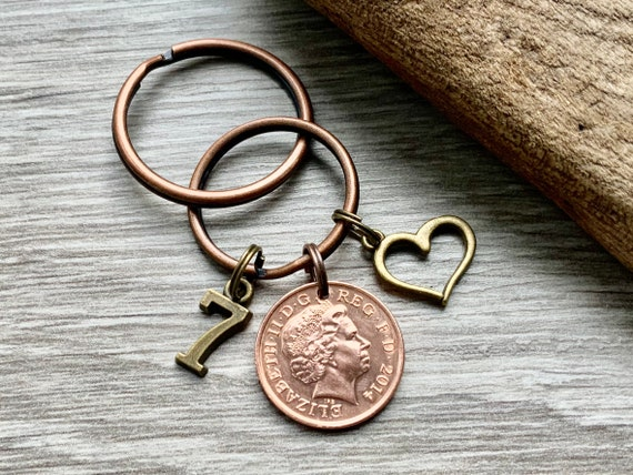 7th anniversary gift, Celebrate 7 years together with a  2014 British penny keyring or clip, copper anniversary gift