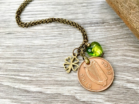Irish coin necklace, long ireland pendant, 1979, 1980 or 1982 anniversary or 37th, 39th or 40th birthday gift for her, woman, wife