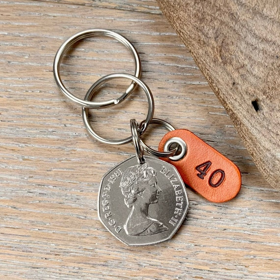 40th anniversary or birthday gift, 1981 British 50p coin Keyring or clip, with a handmade leather number 40 tag