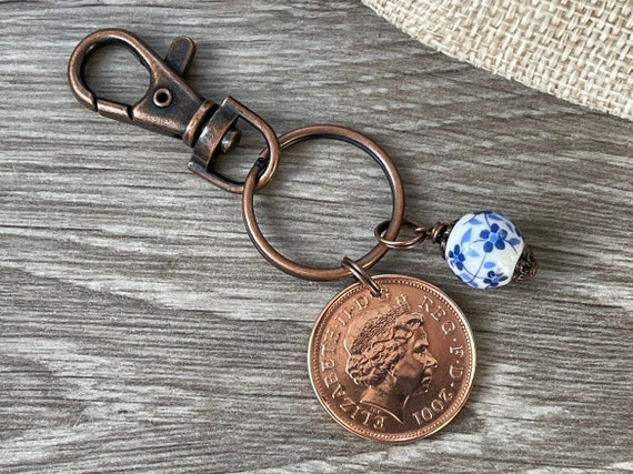 China Anniversary gift, 20th Anniversary, 2001 British two pence coin keyring or clip with a china bead charm