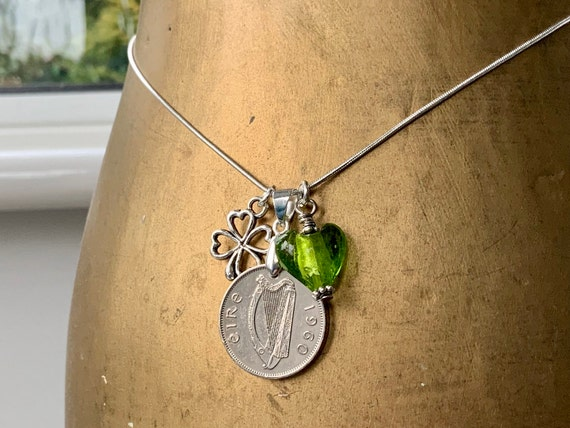 1960 Irish sixpence necklace, Wolfhound harp coin, Ireland 60th birthday present for a woman