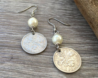 60th birthday gift for her, 1958 British sixpence earrings, pretty English coin Jewelry, retirement present woman, Boho coin earrings