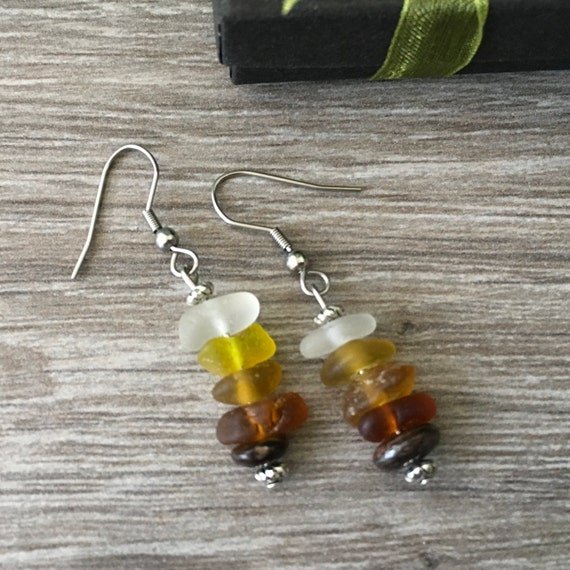 Natural clear, yellow and brown ombré sea glass earrings, found beach glass and bronzite earrings, handmade using stainless steel ear wires