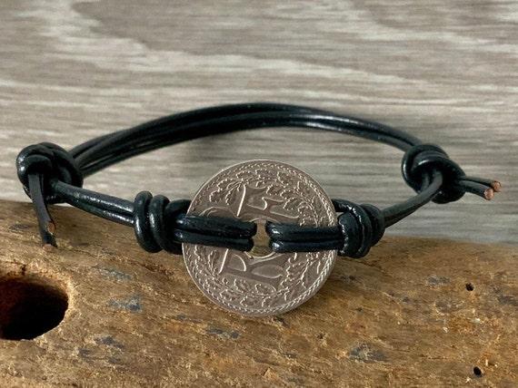 French coin bracelet, knotted adjustable leather bracelet, France gift
