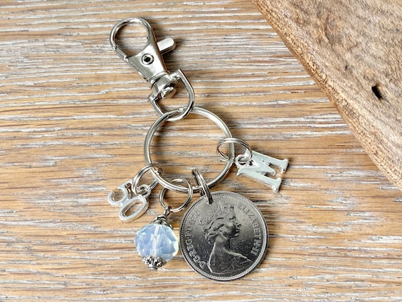 50th Birthstone gift, 1970 British 5p coin keyring or bag clip, choice of initial and charm colour, 50th birthday or anniversary gift woman