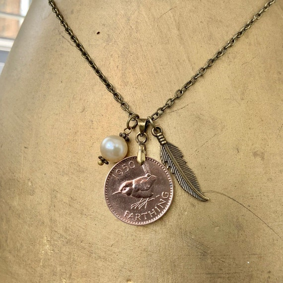 Farthing feather necklace choose coin year 1940 - 1950,  birthday gift vintage British bird coin pendant jenny wren, present for a woman
