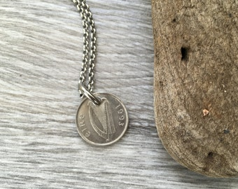 Irish coin necklace, masculine pendant, Taurus bull, choose coin year 1992, 1993 or 1994 for a Ireland Anniversary present or  birthday gift