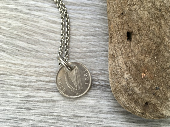 Irish coin necklace, masculine pendant, Taurus bull, choose coin year 1992, 1993 or 1994, Ireland Anniversary present, birthday gift