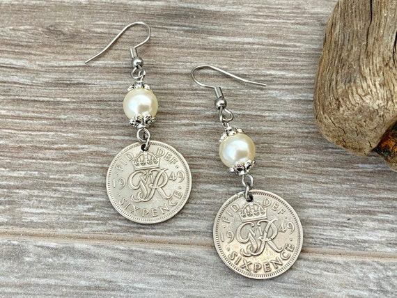 Sixpence pearl earrings, 68th or 69th birthday gift 1950, 1951 British coin jewellery retirement anniversary present her woman, mum, grandma