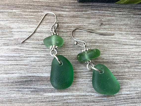 Green Sea glass earrings, handmade useing Cornish beach glass, English seaglass jewelry, stainless steel ear wires
