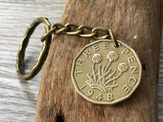 69a0ef4fec7fc 1948 Vintage British coin keychain, English brass coin, three penny ...