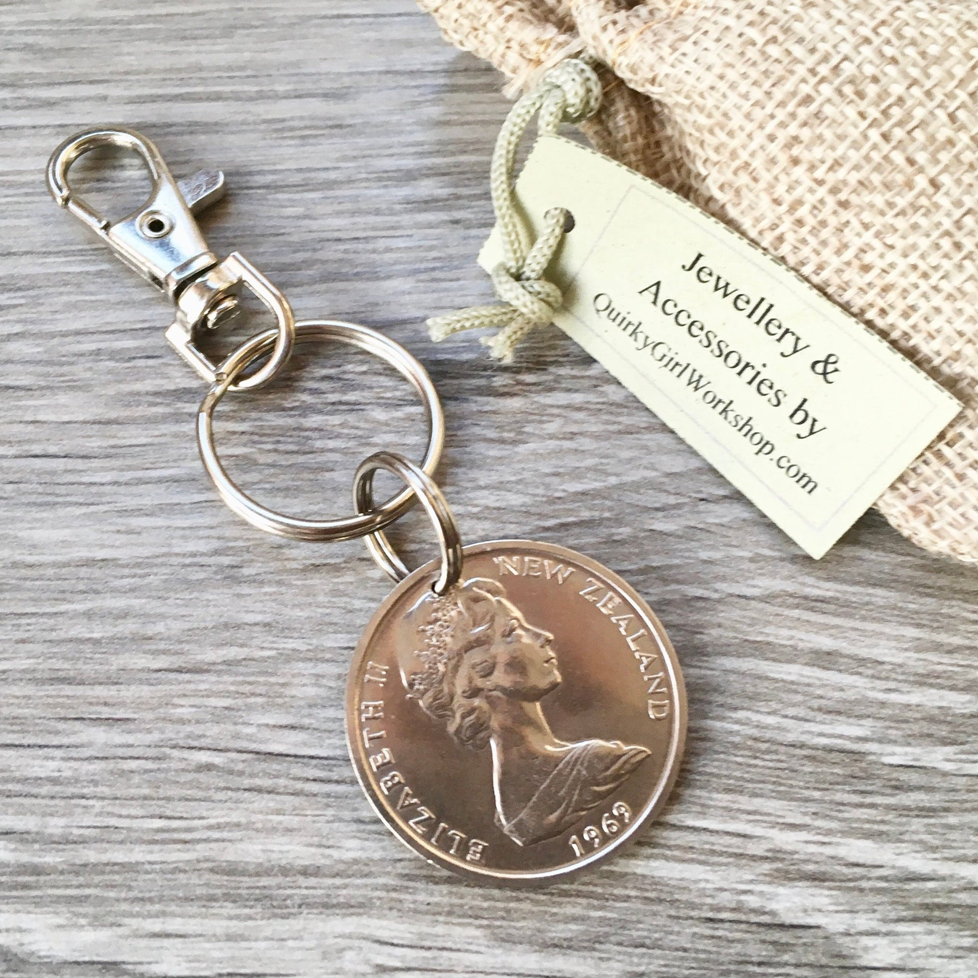 50th Birthday Gift, 1969 New Zealand Coin Keyring