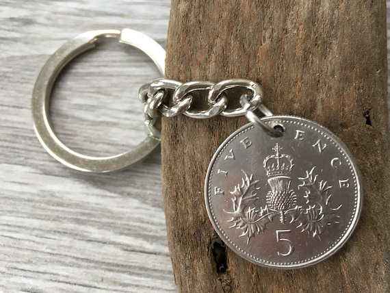 30th or 32nd birthday gift, 1987 or 1989 British coin keychain, Scottish thistle keyring, Scotland, small present for him, man, brother, son
