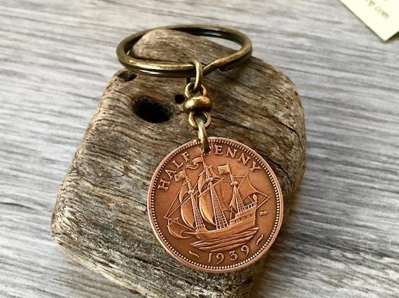 choose between a 1939 or 1940 coin keychain, British halfpenny keyring, English sailing ship boat clip