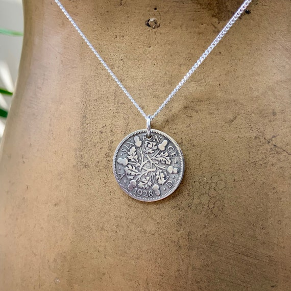 Silver sixpence necklace on a sterling silver chain, available from year 1928 or 1929 a perfect for a 92nd or 93rd birthday or bridal gift,