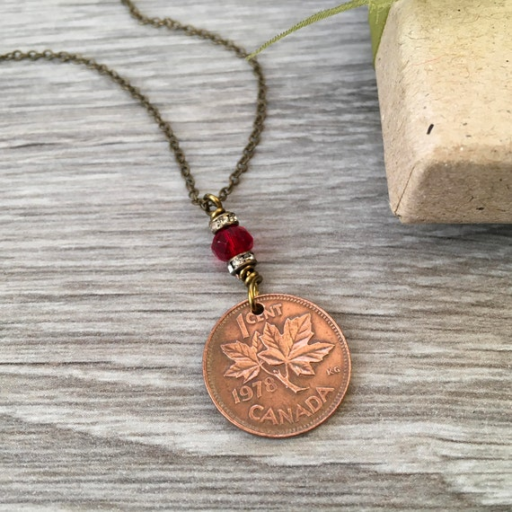 Canadian coin necklace, 30th or 40th birthday gift, choose year 1977-1990 coin pendant, maple leaf, Canada anniversary present for a woman