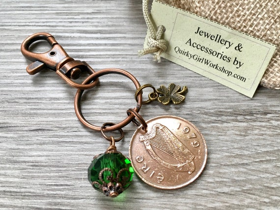 Irish lucky coin bag clip, choose coin year, Celtic good luck charm, Ireland keyring, Anniversary or birthday gift