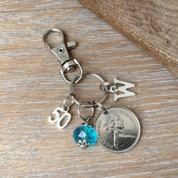 50th Birthstone gift, 1970 British coin keyring or bag clip, choice of initial and charm colour, 50th birthday or anniversary gift woman