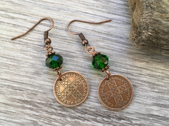 Portuguese coin earrings, 50th birthday gift, portugal Jewellery, 1969 anniversary present for a woman
