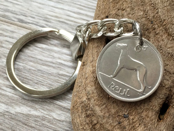 1934 or 1935 Lucky Irish wolfhound sixpence keychain, keyring, choose coin year for a perfect 86th or 87th birthday gift