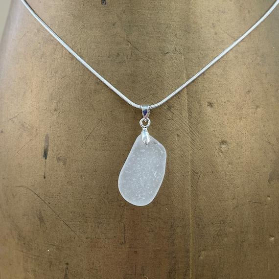 Natural sea glass pendant, genuine beach glass necklace, mermaids tears, simple jewellery, Cornish sea glass, Cornwall,