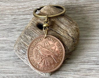 New Zealand 1962 penny Keyring, keychain or clip Tui bird coin, a perfect birthday or anniversary gift