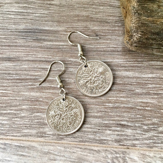 60th birthday gift idea, 1959 British sixpence earrings, pretty English lucky coin Jewellery, Sterling silver, present woman, mum, aunt
