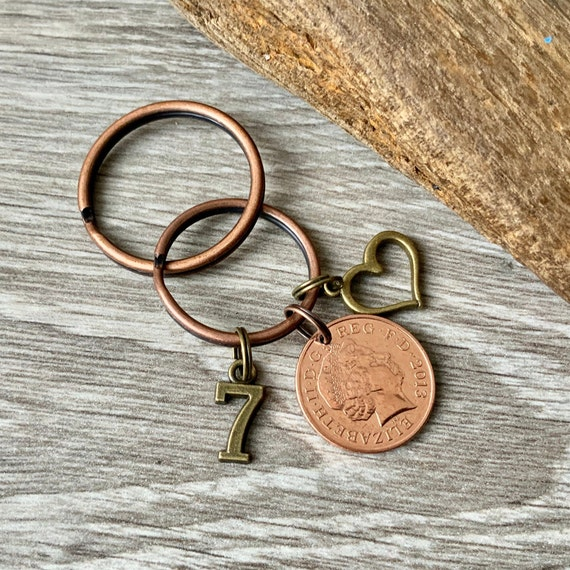 7 years together, 2013 British penny key chain, or clip, Copper anniversary gift For a man or woman