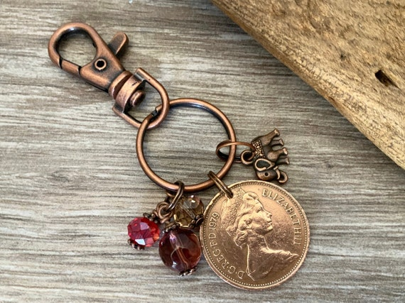 UK coin handbag charm, purse clip or keyring, 1971 - 1990 choose year from the drop down menu a perfect birthday or anniversary gift