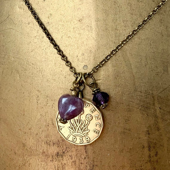 1939 coin necklace, Amethyst heart pendant, 80th birthday gift, British threppence, jewellery UK English present for her woman mum grandma