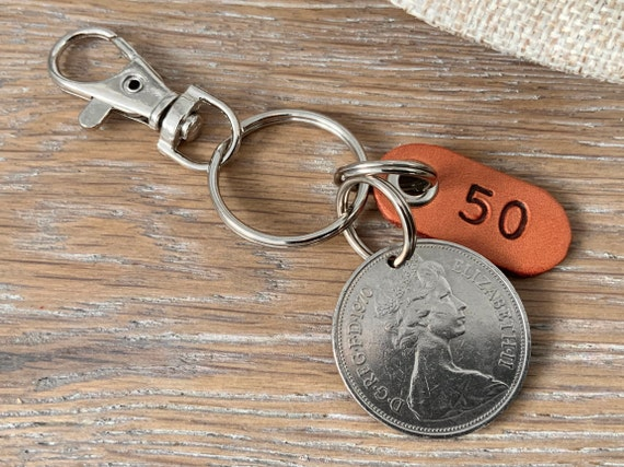 50th birthday gift, 1970 British ten pence coin keyring or clip
