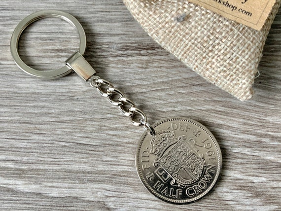 British Half crown coin keyring or keychain, 1961, 1962, 1963 or 1964 Choose coin year for a perfect birthday or  Anniversary gift