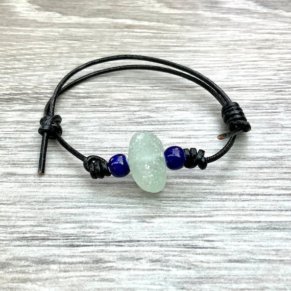 Natural sea glass and leather bracelet, adjustable beaded bracelet, beach glass jewellery friendship bracelet