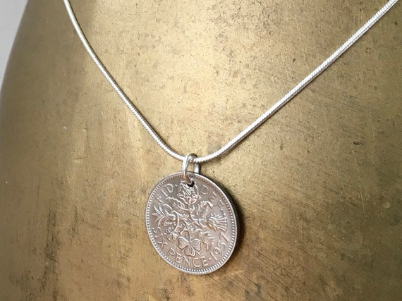 1956, 1957 or 1958 Lucky Sixpence necklace, British coin pendant, sterling silver chain, Choose coin year for a birthday gift for her woman