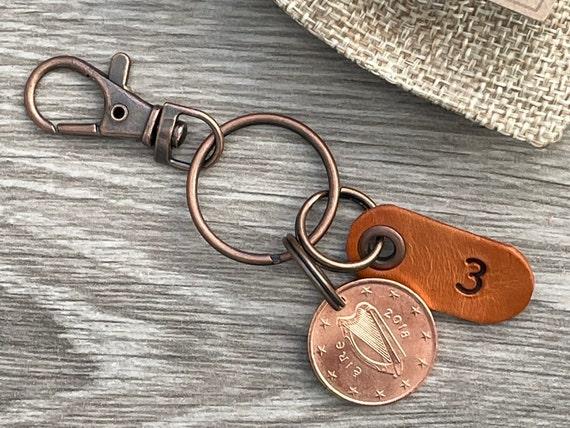 3rd anniversary gift, 2018 Irish 5 euro cent coin keyring, keychain, Leather wedding Anniversary present,  three years years together