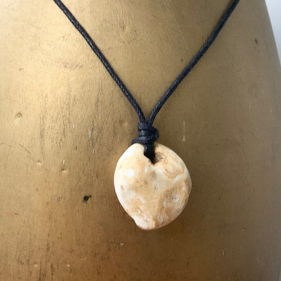Holey stone pendant, hag stone necklace, raw beach rock jewellery, waxed cotton cord, knotted necklace, adjustable length, pebble pendant