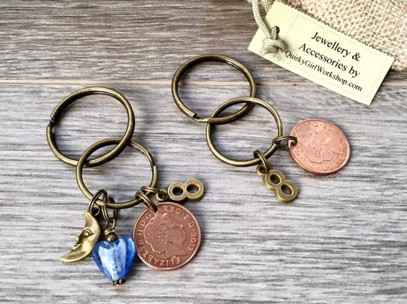 8th anniversary gift, 2011 wedding, bronze anniversary, couples present mr and mrs gift 2 keyrings pair of keychain purse bag charm,