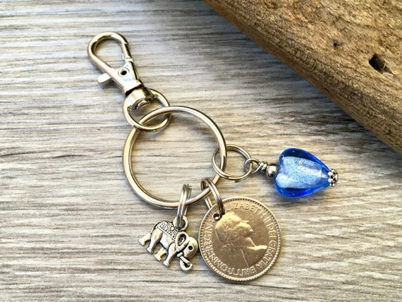 56th birthday gift for her 1963 Lucky sixpence keychain, keyring, lucky clip, handbag charm, elephant, dragonfly, present